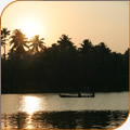 Beautiful sunset over the Keralan Backwaters